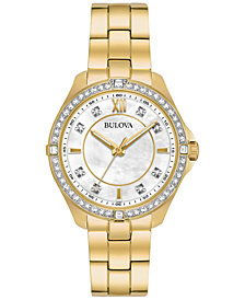 Bulova Women's Gold-Tone Stainless Steel Bracelet Watch 35mm 98L230, Created for Macy's