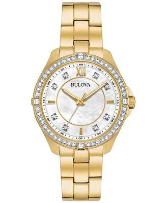 Bulova Women's Gold-Tone Stainless Steel Bracelet Watch 35mm 98L230, A Macy's Exclusive Style