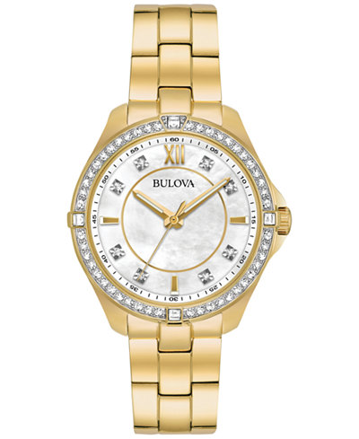 Bulova Women's Gold-Tone Stainless Steel Bracelet Watch 35mm 98L230, Created for Macy's