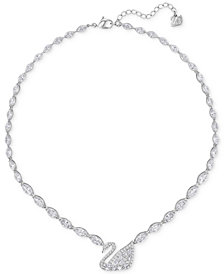 Swarovski Silver-Tone Pavé Crystal Swan Collar Necklace