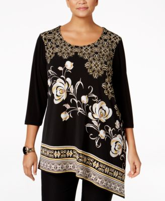 JM Collection Plus Size Printed Asymmetrical Top, Only at Macy's