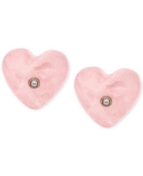 71abaab95 Michael Kors Rose Gold-Tone Stone Heart Stud Earrings & Reviews ...