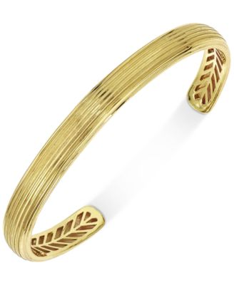 Esquire Mens Jewelry Textured Cuff Bracelet in 10k Gold Created