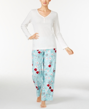 Charter Club Henley Top and Printed Flannel Pants Pajama Set