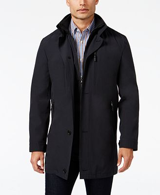 MICHAEL Michael Kors Men's Slim-Fit Attached-Bib Rain Coat - Coats ...