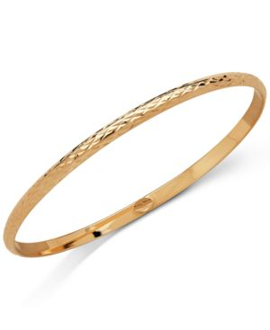 Italian Gold Textured Bangle Bracelet in 18k Gold