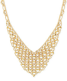 V-Shape Fancy Link Collar Necklace in 18k Gold