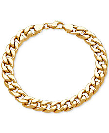 Men's Heavy Curb Link Bracelet in 10k Gold