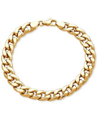 Macy S Men S Heavy Curb Link Bracelet In 10k Gold Bracelets