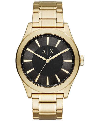 A|X Armani Exchange Men's Nico Gold-Tone Stainless Steel Bracelet Watch 44mm AX2328