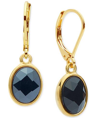 Anne Klein Oval Crystal Drop Earrings