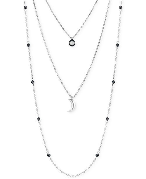 Lucky Brand Silver-Tone Layered Moon Pendant Necklace