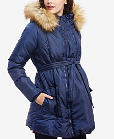 Motherhood Maternity Three-In-One Belted Quilted Puffer Coat