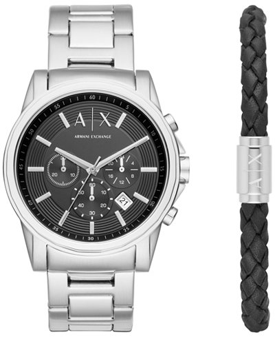 A|X Armani Exchange Men's Chronograph Outerbanks Stainless Steel Bracelet Watch Gift Set 44mm AX7100