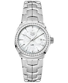 TAG Heuer Women's Swiss LINK Diamond (5/8 ct. t.w.) Stainless Steel Bracelet Watch 32mm WBC1314.BA0600