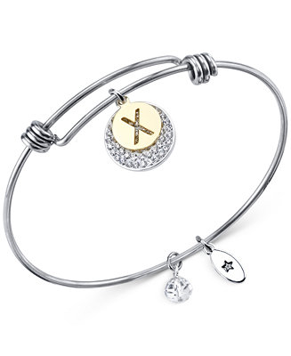 Unwritten Pavé and initial Disc Bangle Bracelet in