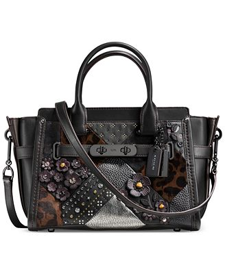 COACH Embellished Canyon Quilt Coach Swagger 27 in Pebble Leather