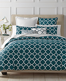 LAST ACT! Charter Club Damask Designs Geometric Peacock 3-Pc. King Duvet Set, Created for Macy's