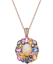 Opal (1 ct. t.w.), Multi-Sapphire (3-1/6 ct. t.w.) and Diamond Accent Pendant Necklace in 14k Rose Gold