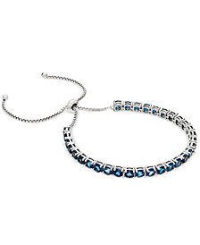 London Blue Topaz Slider Bracelet (7-1/2 ct. t.w.) in Sterling Silver