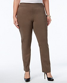 Plus Size Tummy Control Pull-On Slim-Leg Pants
