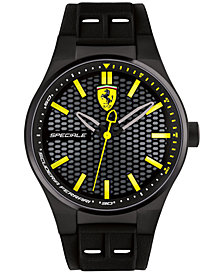 LIMITED EDITION Ferrari Men's Speciale 3H Black Silicone Strap Watch 44mm 0830354