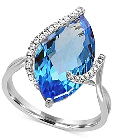 Ocean Bleu by EFFY® Blue Topaz (7-1/10 ct. t.w.) and Diamond (1/8 ct. t.w.) Ring in 14k White Gold