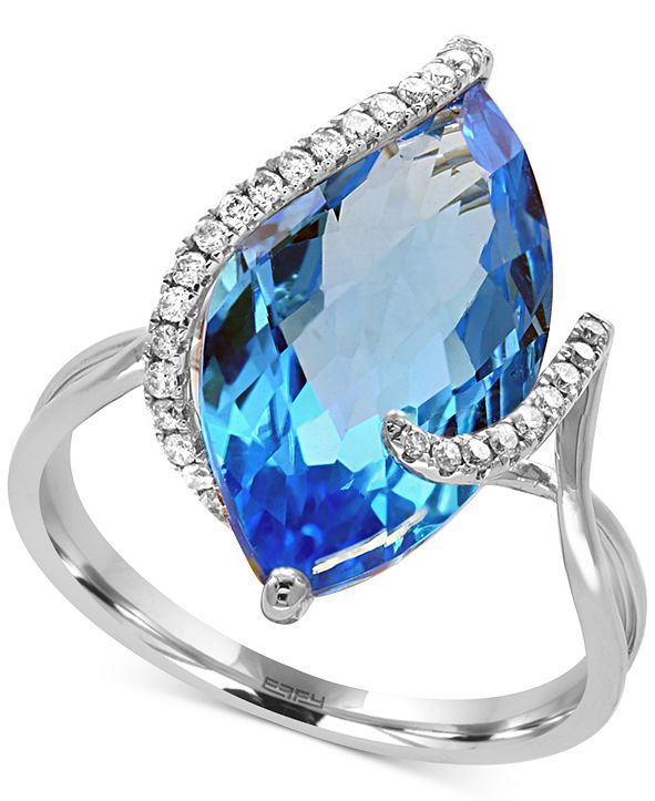 EFFY Collection Ocean Bleu by EFFY® Blue Topaz (7-1/10 ct. t.w.) and Diamond (1/8 ct. t.w.) Ring in 14k White Gold
