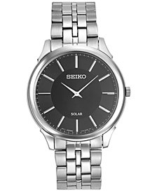 Seiko Men's Solar Slimline Stainless Steel Bracelet Watch 39mm SUP865