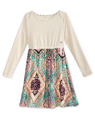 Roxy Patterned Skirt Long-Sleeve Dress, Little Girls (2-6X)
