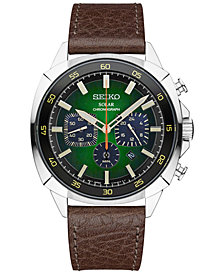Seiko Men's Solar Chronograph Recraft Brown Leather Strap Watch 43mm SSC513