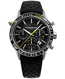 RAYMOND WEIL Men's Swiss Chronograph Freelancer Black Leather Strap Watch 43mm 7740-SC1-20021