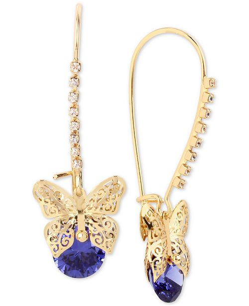 Betsey Johnson Gold-Tone Filigree Butterfly and Stone Drop Earrings