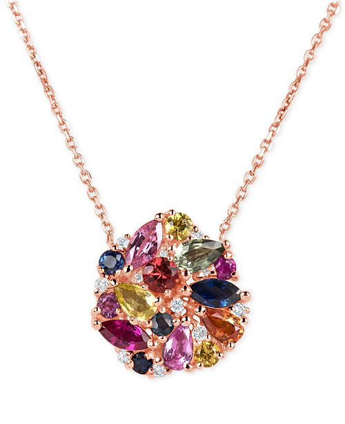 Macy's Multi-Sapphire (2-9/10 ct. t.w.) and Diamond (1/10 ct. t.w.) Pendant Necklace in 14k Rose Gold