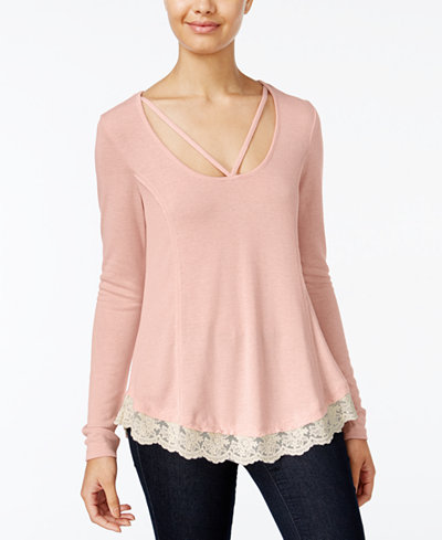 Belle Du Jour Juniors' Lace-Trim Cage-Front Top