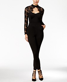 Juniors' Lace-Detail Illusion Jumpsuit, Created for Macy's