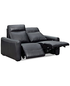 "Marzia 60"" Leather Loveseat with 2 Power Recliners, Created for Macy's"