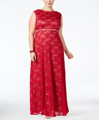 Alex Evenings Plus Size Lace Glitter A-Line Gown