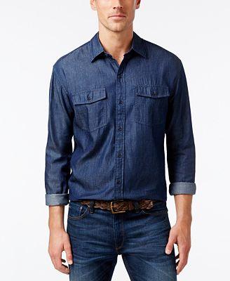 Cutter & Buck Men's Big & Tall Indigo Denim Twill Shirt