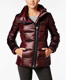 Calvin Klein Asymmetrical-Zipper Puffer Coat