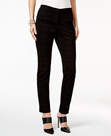 Petite Flocked Plaid Skinny Pants, Created for Macy's