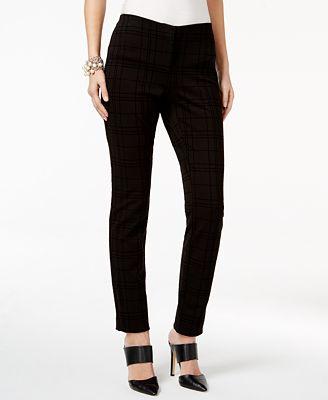 Alfani Petite Flocked Plaid Skinny Pants, Created for Macy's