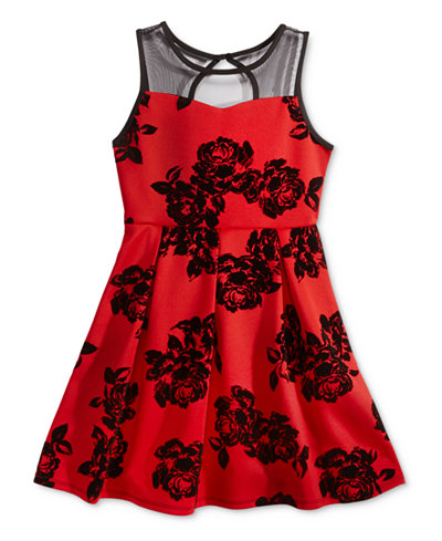 Crystal Doll Illusion Flocked Fit & Flare Dress, Girls (7-16)