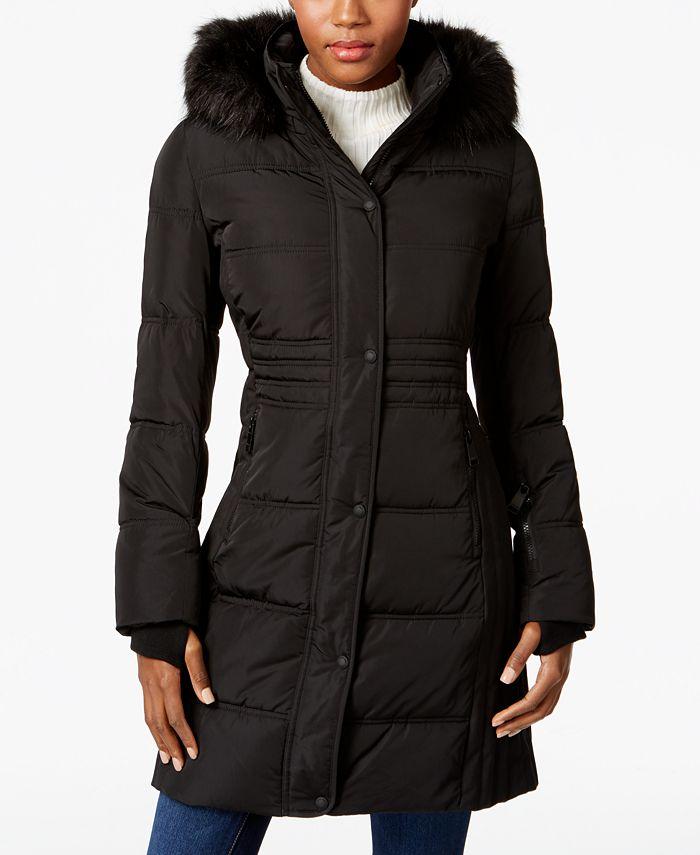 Calvin Klein - Water Resistant Faux-Fur-Trimmed Puffer Coat