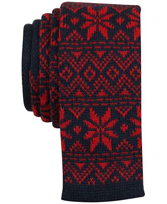 Bar III Men's Fair Isle Knit Slim Tie, Created for Macy's - Red ...