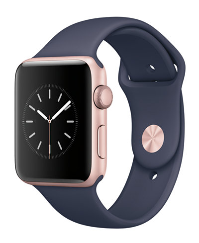 Apple Watch Series 2 42mm Rose Gold-Tone Aluminum Case with Midnight Blue Sport Band