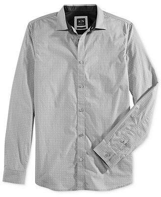 Armani Exchange Men's Circle Dot-Print Long Sleeve Button Down Shirt