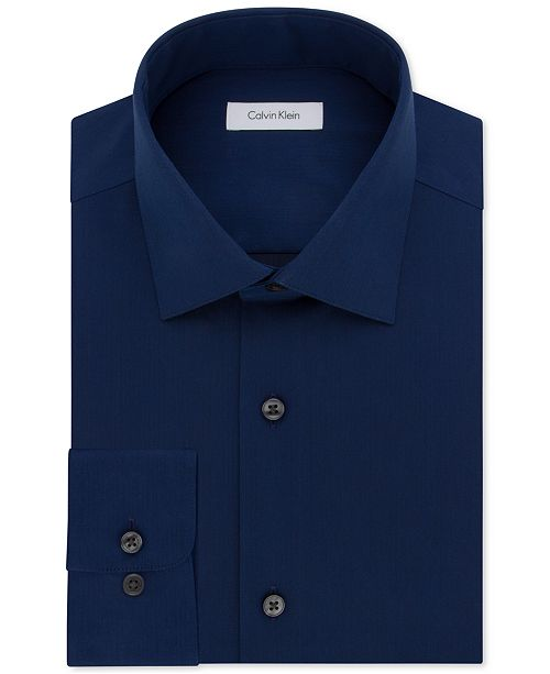 Calvin Klein Men's Big & Tall Classic-Fit Non-Iron Herringbone Dress Shirt