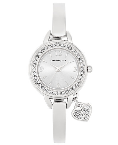 Charter Club Women's Heart Charm Silver-Tone Bangle Bracelet Watch 26mm, Only at Macy's
