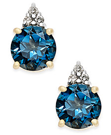 London Blue Topaz (2 ct. t.w.) and Diamond Accent Stud Earrings in 14k Gold